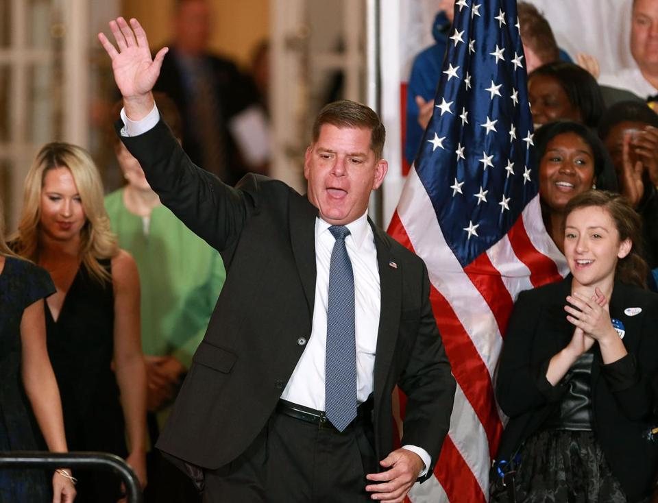 Boston, MA: 11-7-17: Boston Mayor Martin Walsh celebrated his re-election to a second term at a party held in the Grand Ballroom of the Fairmont Copley Plaza Hotel. He is pictured asa he arrives on stage to give his victory speech. (Jim Davis/Globe Staff)